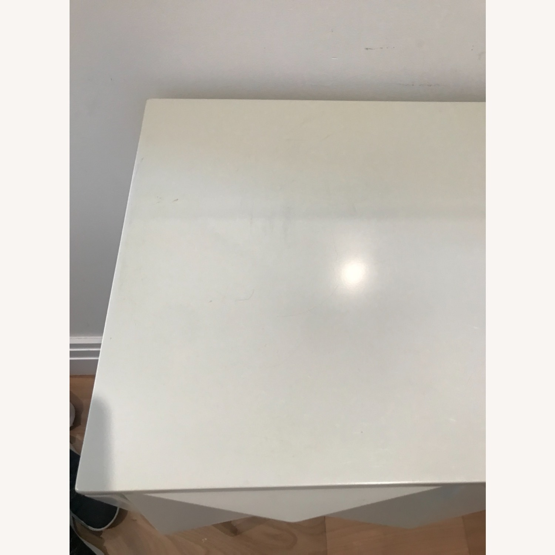 West Elm White Lacquer GeometricConsole - image-8