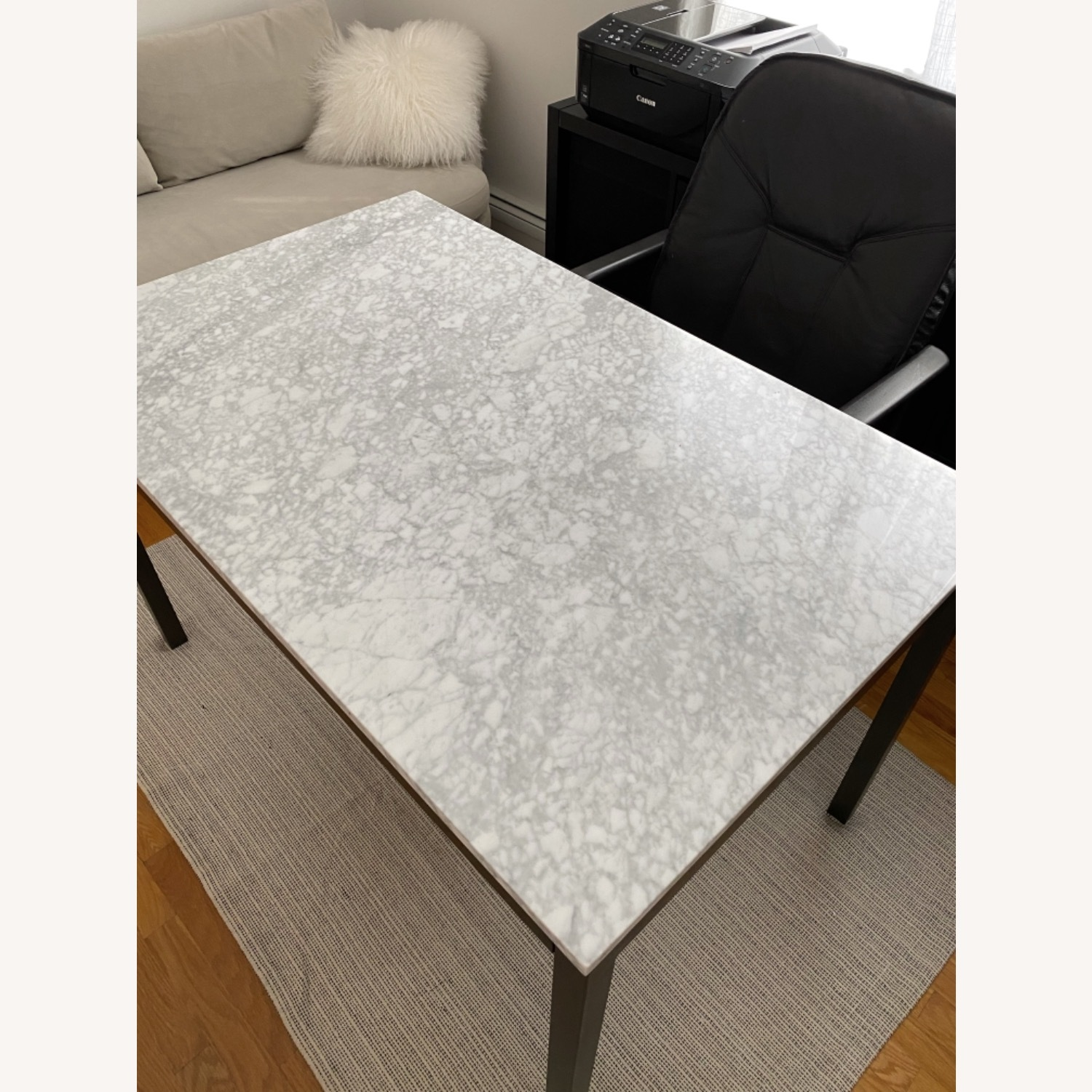 West Elm Box Frame Marble Dining Table - image-1