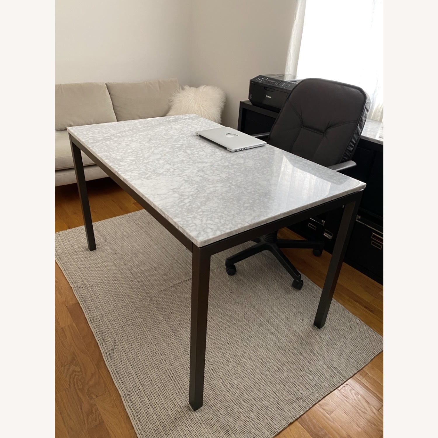 West Elm Box Frame Marble Dining Table - image-6