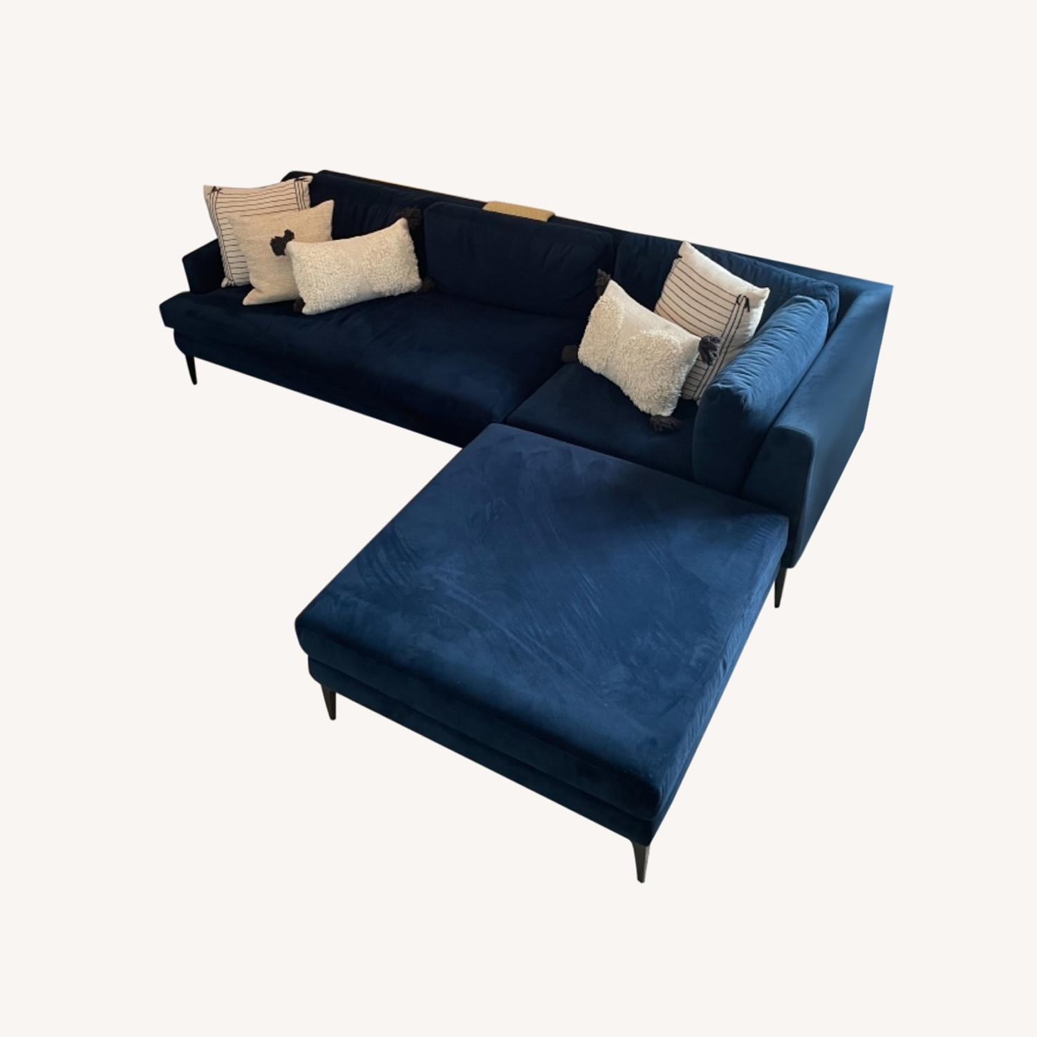 West Elm Andes 3-Piece Left Sectional Navy - image-0