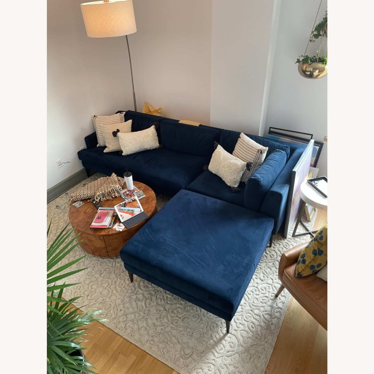 West Elm Andes 3-Piece Left Sectional Navy - image-1