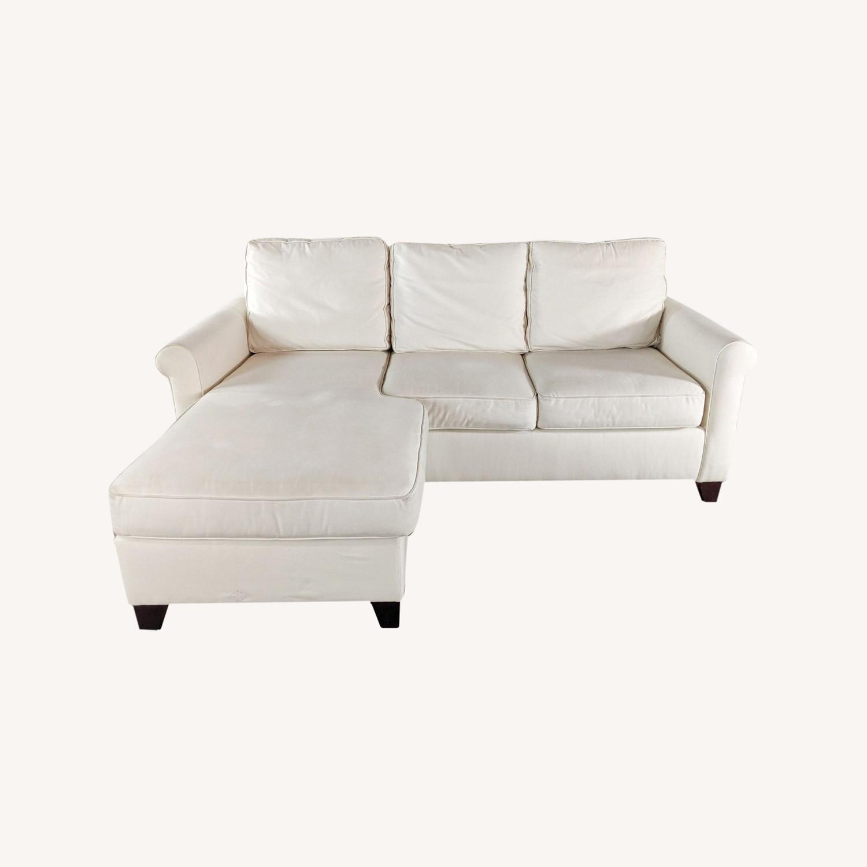 Pottery Barn White Upholstered Sectional Sofa - image-0