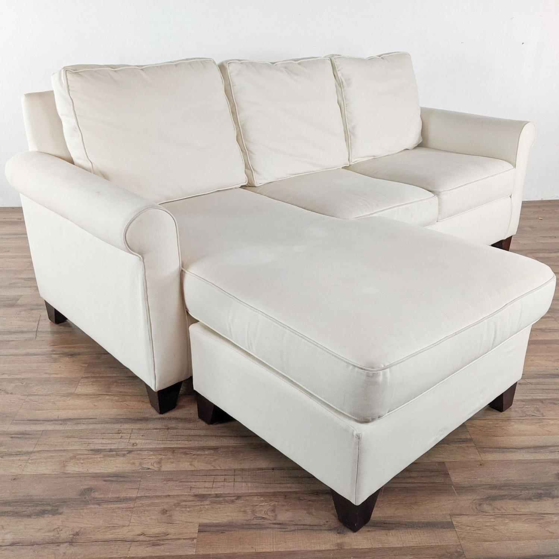 Pottery Barn White Upholstered Sectional Sofa - image-2