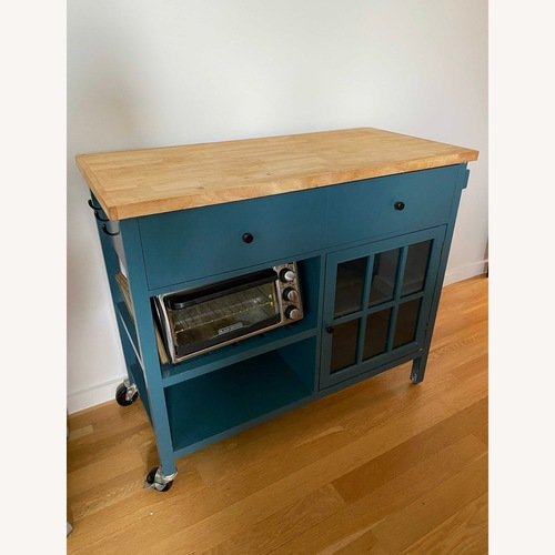 Used Teal Threshold Kitchen Cart Island for sale on AptDeco