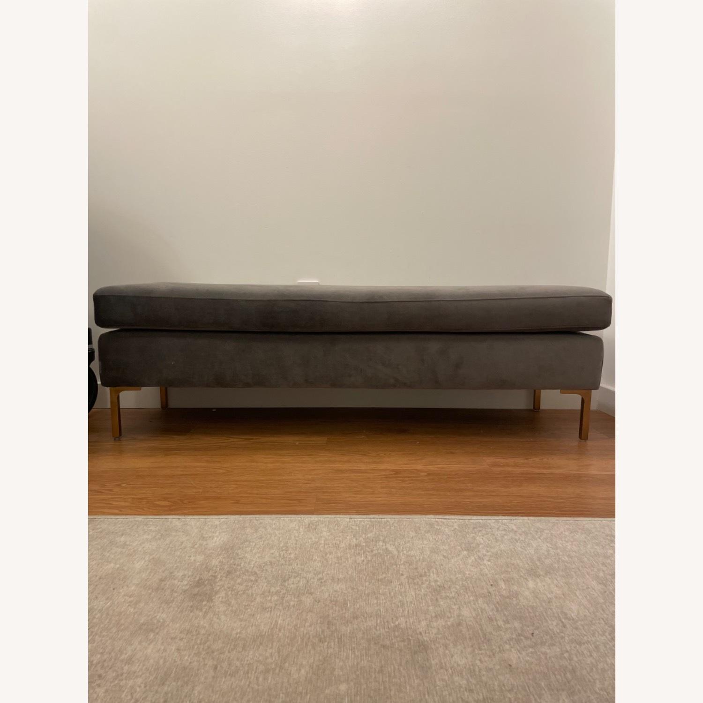AllModern Gray Velvet Upholstered Bench - image-1