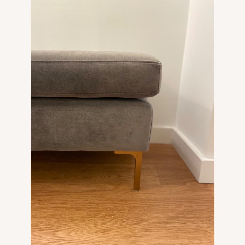 AllModern Gray Velvet Upholstered Bench - image-3