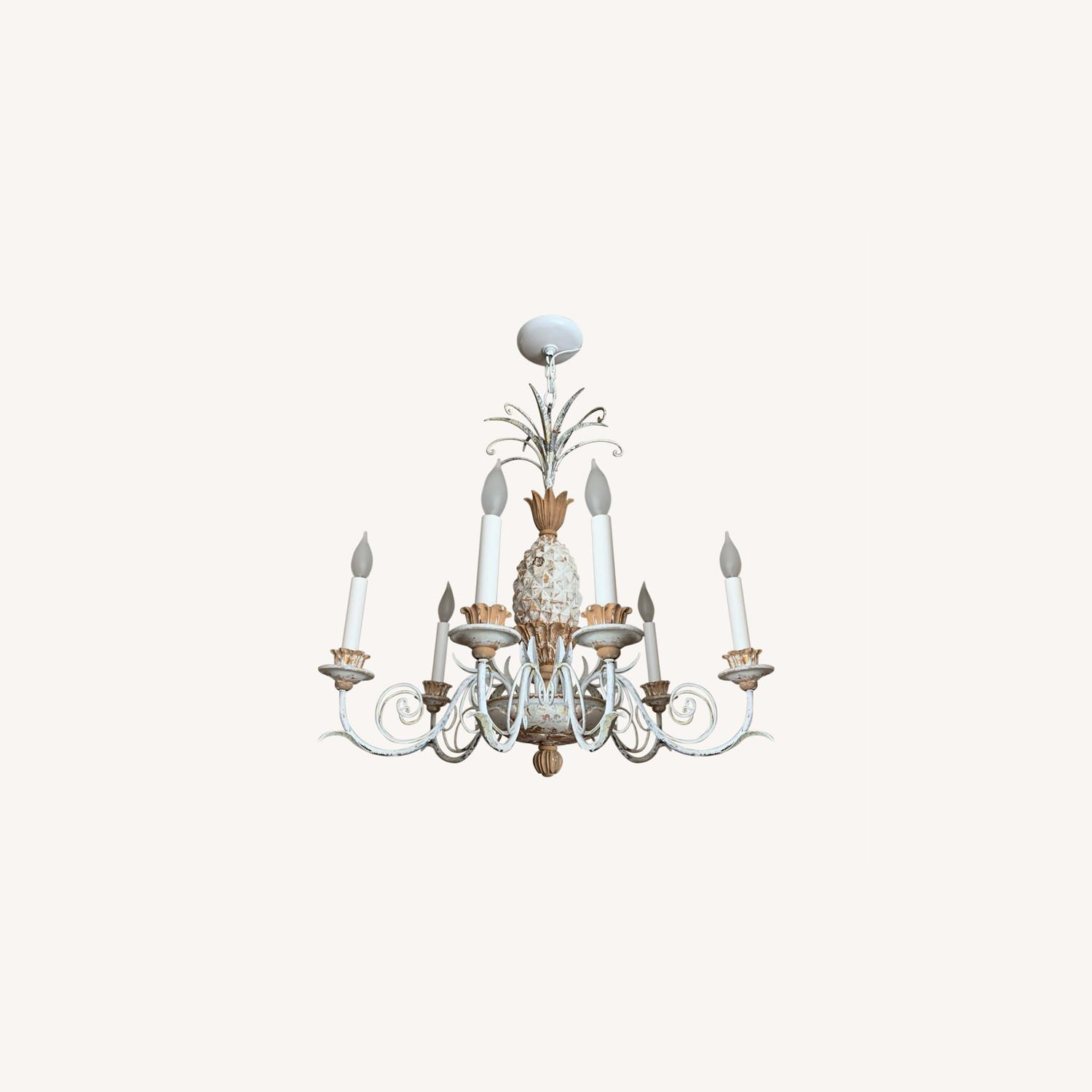 1920s White-Painted Wood and Metal Chandelier - image-0