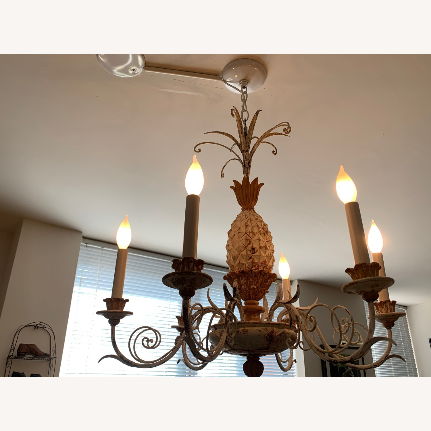 1920s White-Painted Wood and Metal Chandelier - image-2