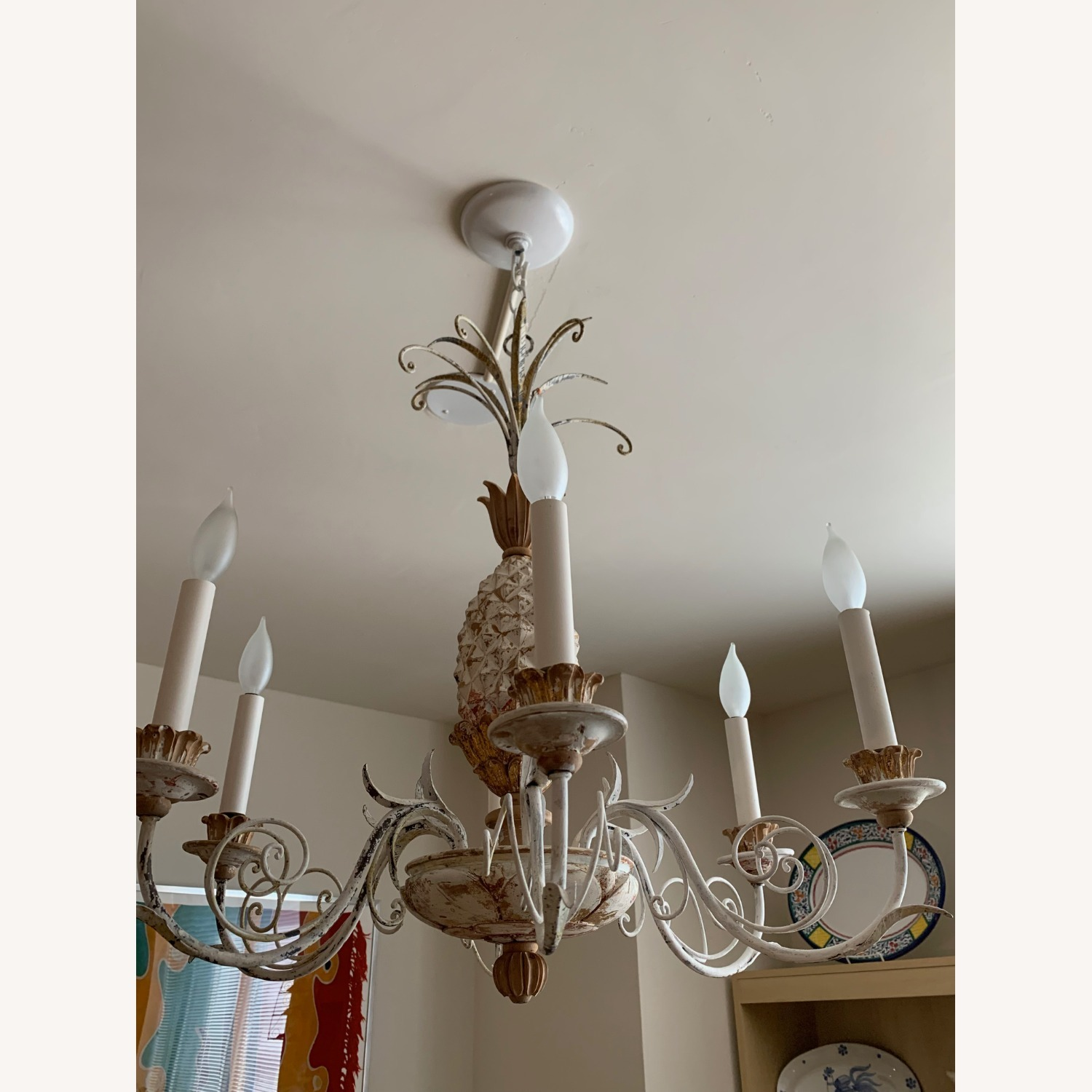 1920s White-Painted Wood and Metal Chandelier - image-3