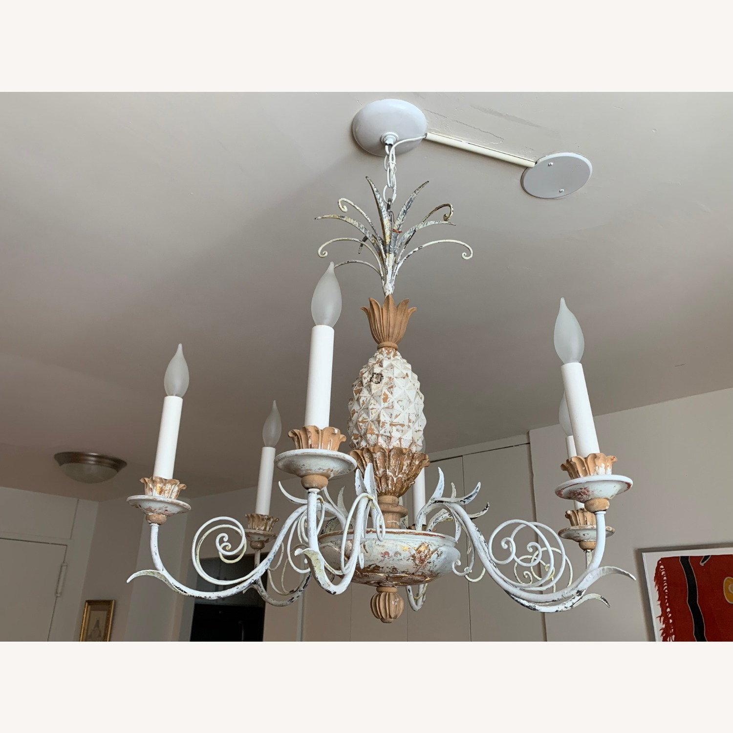 1920s White-Painted Wood and Metal Chandelier - image-1