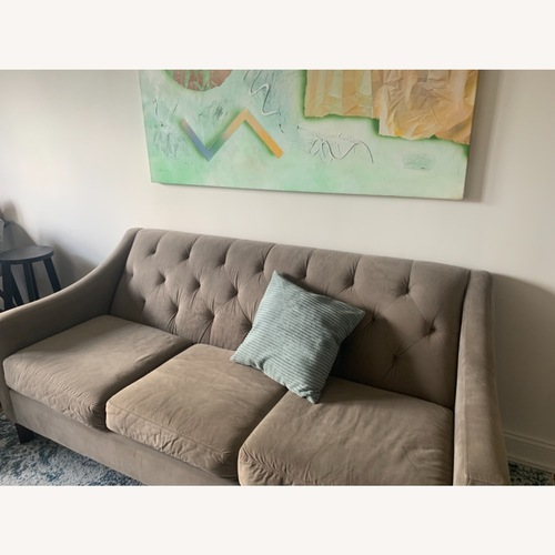 Used Macy's Grey Faux Suede Sofa for sale on AptDeco