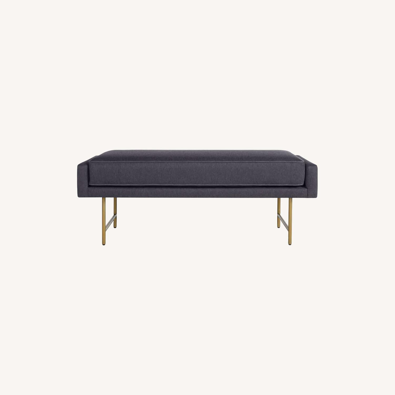Blu Dot Bank Bench (Blue Cushion / Brass Legs) - image-0