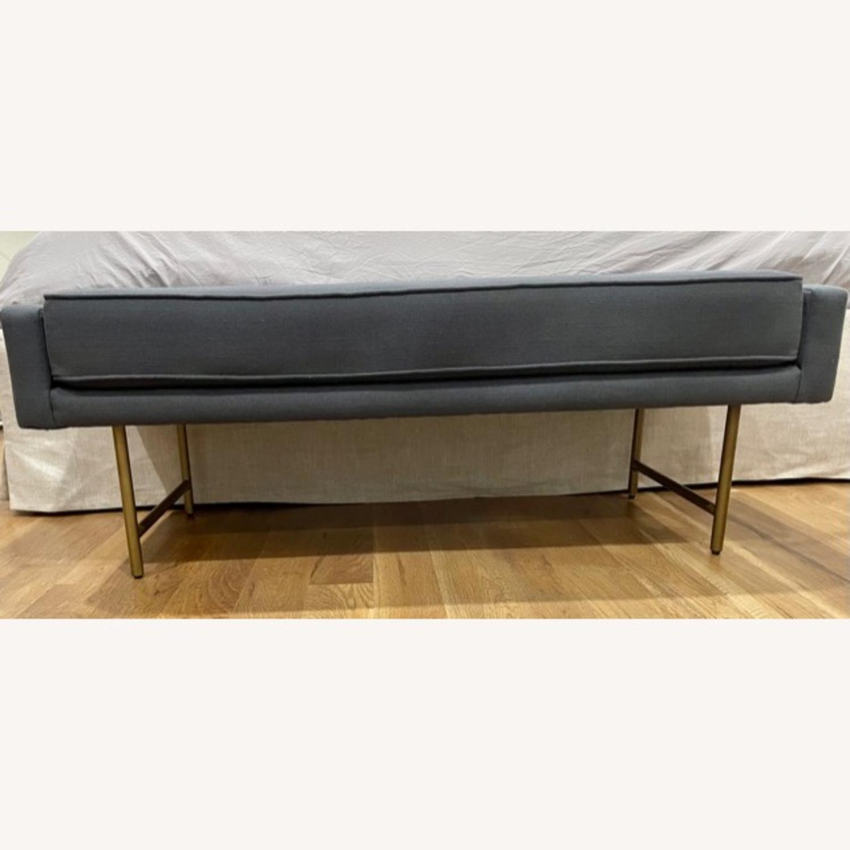 Blu Dot Bank Bench (Blue Cushion / Brass Legs) - image-3