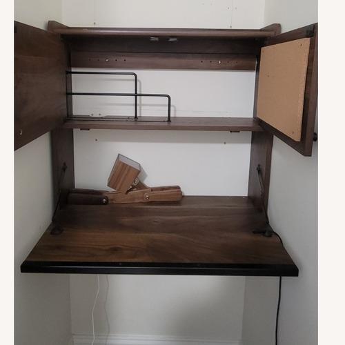 Used Sauder Walnut Floating Desk with Storage for sale on AptDeco
