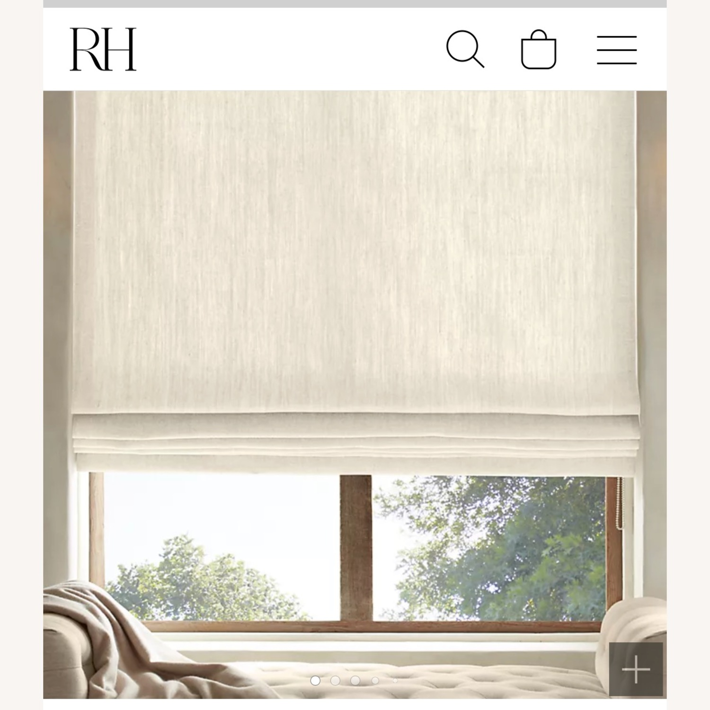 Restoration Hardware White Linen Roman Shade - image-0