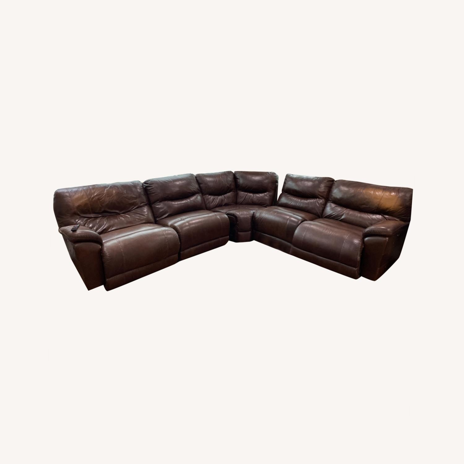 La-ZY-Boy Leather Sectional with Recliners - image-0