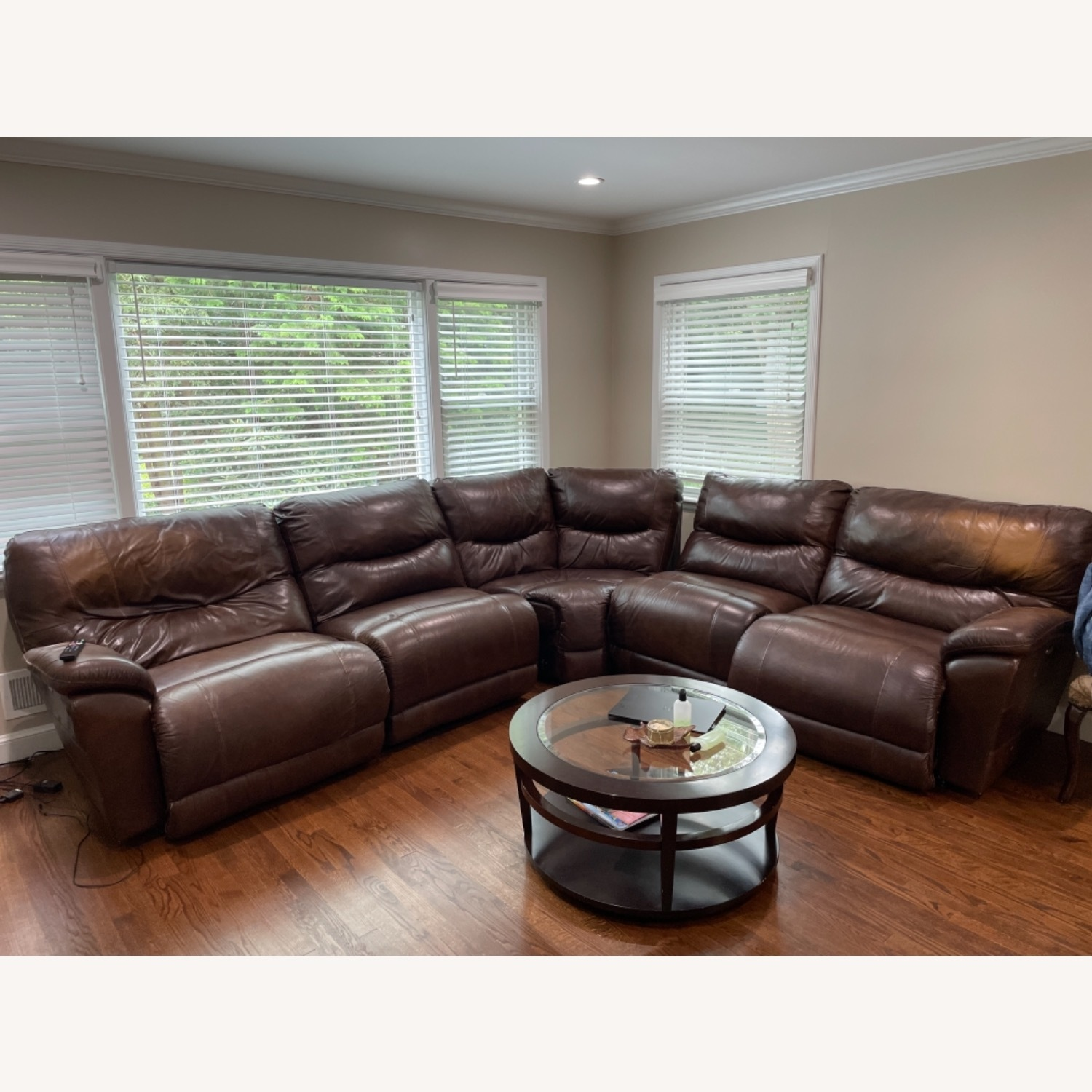 La-ZY-Boy Leather Sectional with Recliners - image-1