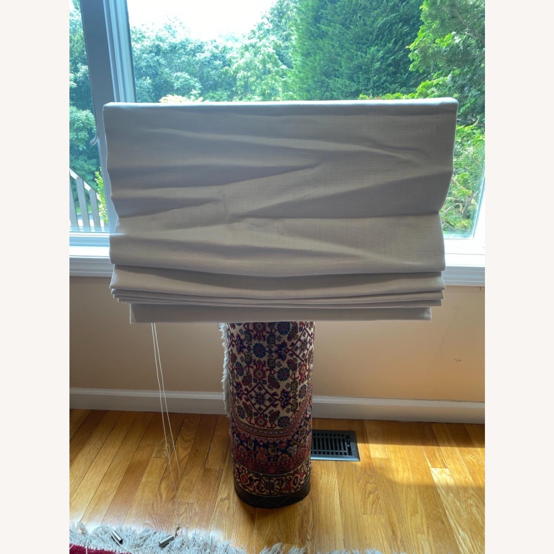 Restoration Hardware White Linen Roman Shade - image-2