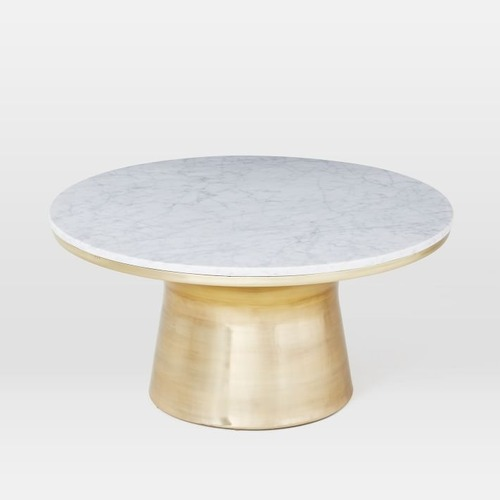 Used West Elm Marble Topped Pedestal Coffee Table for sale on AptDeco
