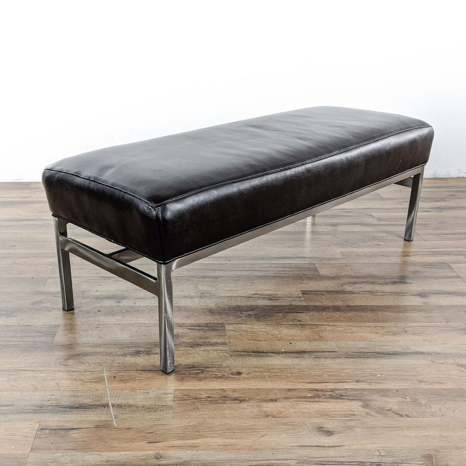 Room & Board Leather and Steel Bench  - image-1