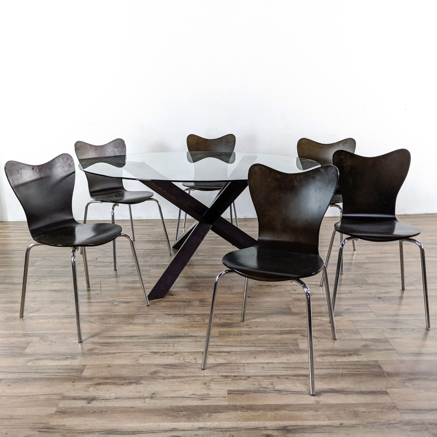 West Elm Glass Dining Table and Chairs - image-4