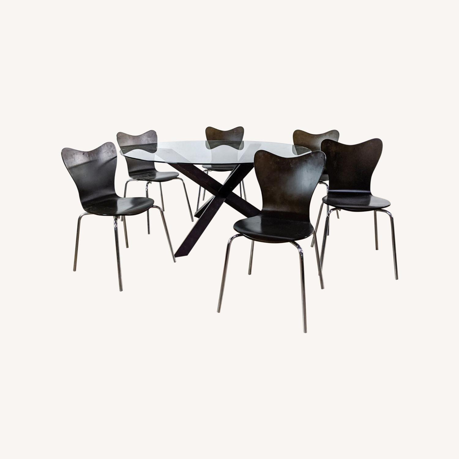 West Elm Glass Dining Table and Chairs - image-0