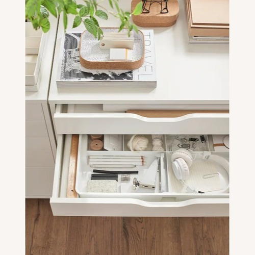Used IKEA White Alex Drawers on casters for sale on AptDeco