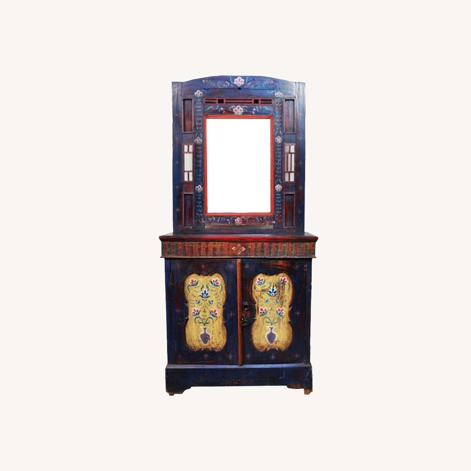 Indigo Hand Painted Entry Hall Cabinet With Mirror - image-0