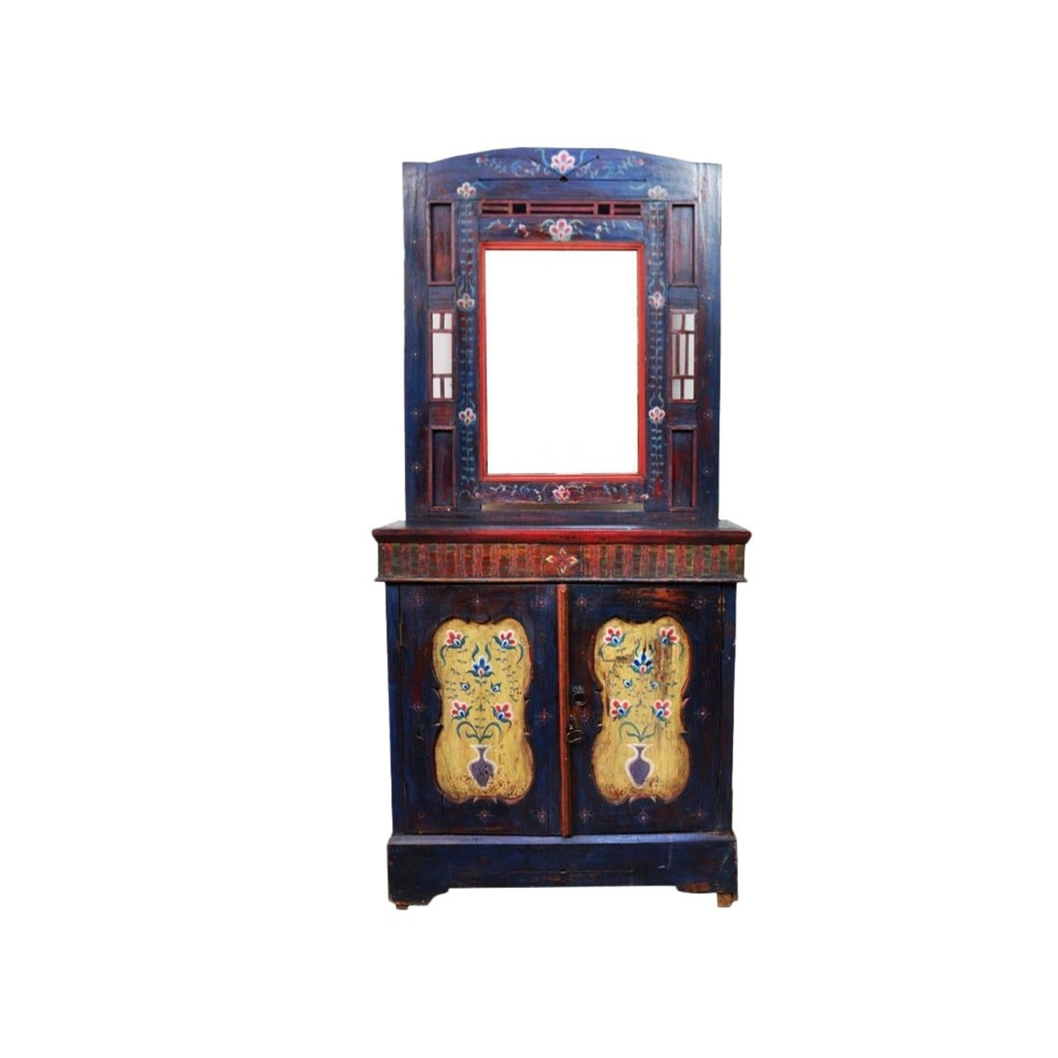 Indigo Hand Painted Entry Hall Cabinet With Mirror - image-1