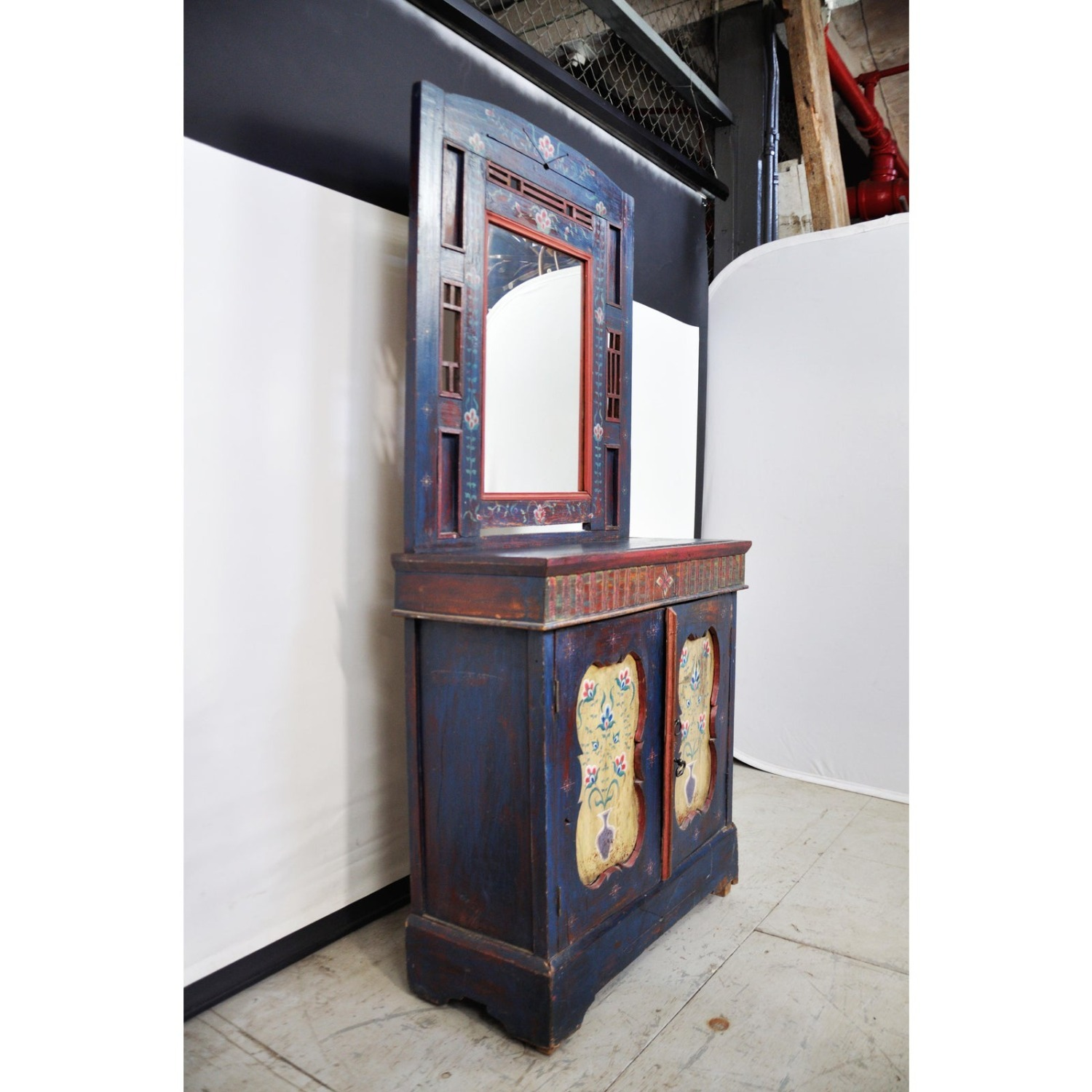 Indigo Hand Painted Entry Hall Cabinet With Mirror - image-5