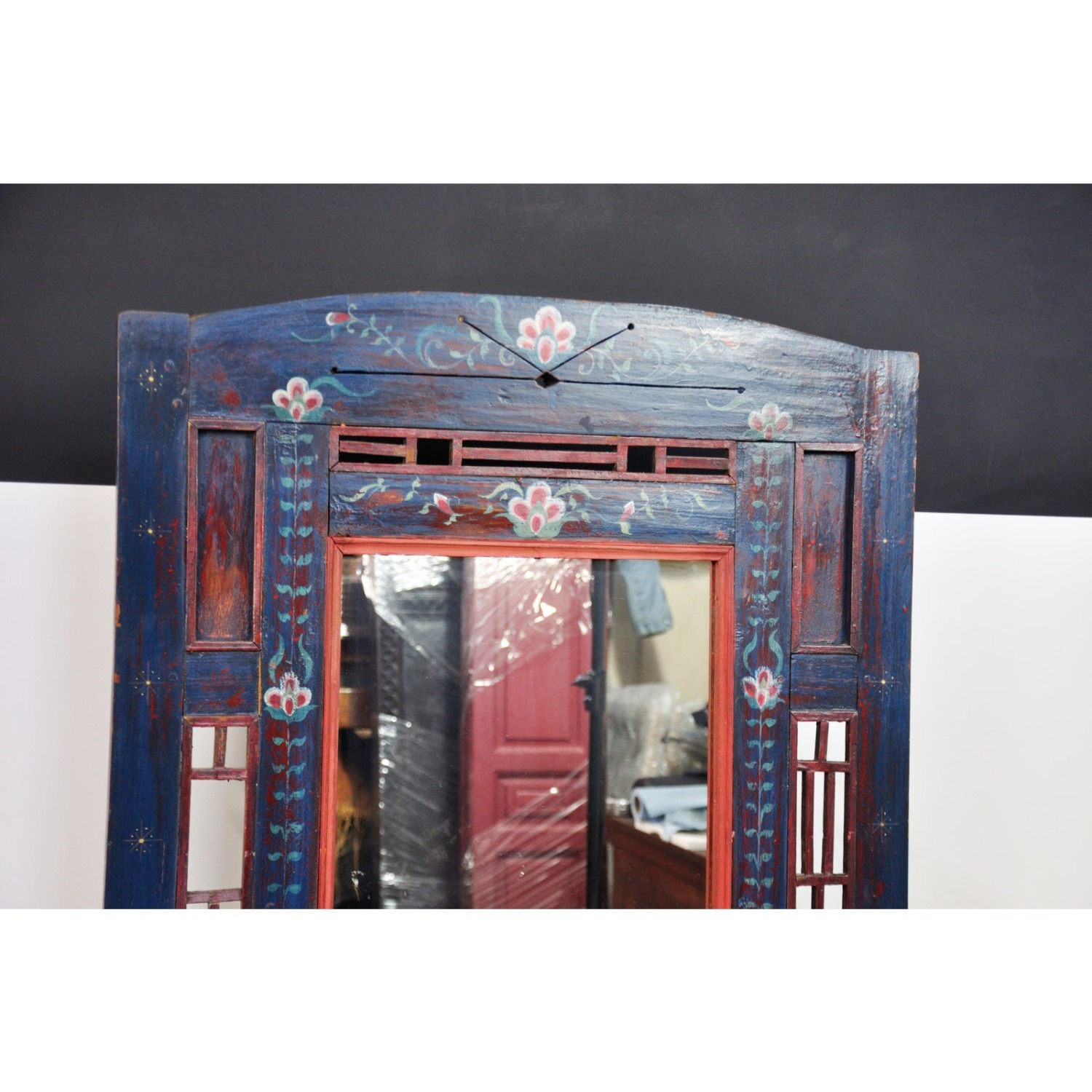 Indigo Hand Painted Entry Hall Cabinet With Mirror - image-4
