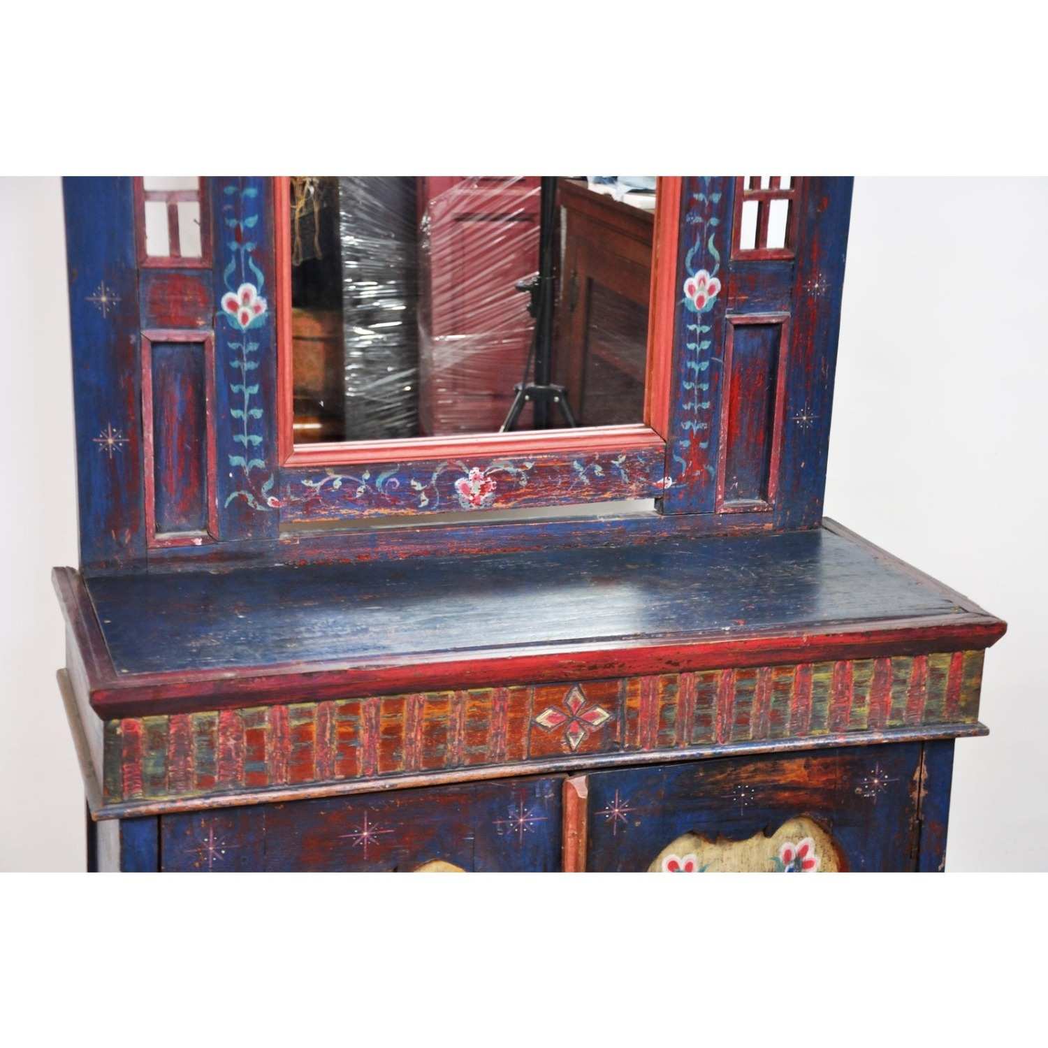 Indigo Hand Painted Entry Hall Cabinet With Mirror - image-3
