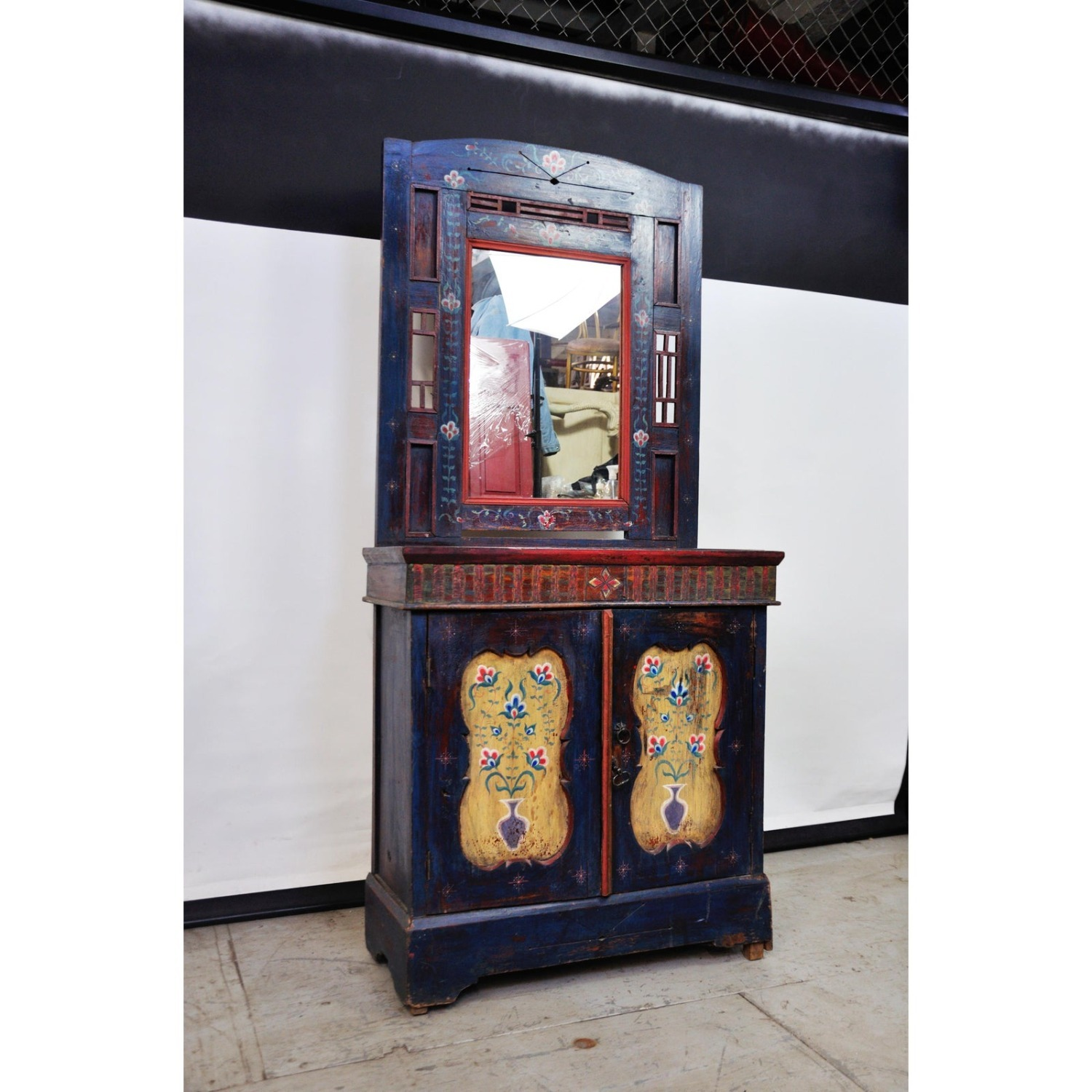 Indigo Hand Painted Entry Hall Cabinet With Mirror - image-2
