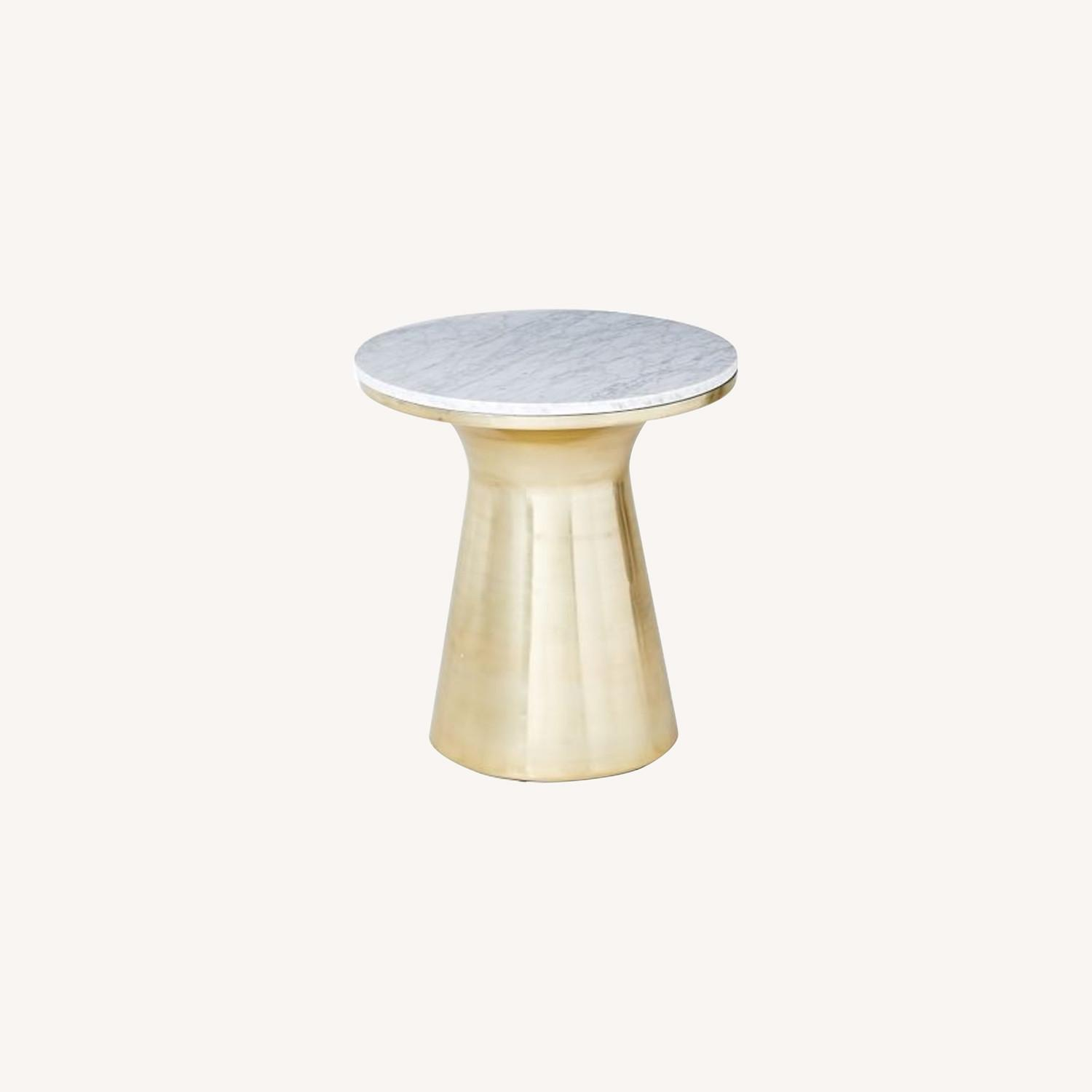 West Elm Marble Topped Pedestal End Table - image-0