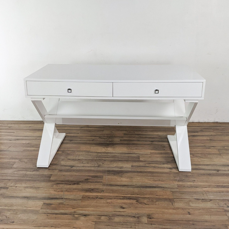 Z Gallerie White Lacquered Desk - image-7