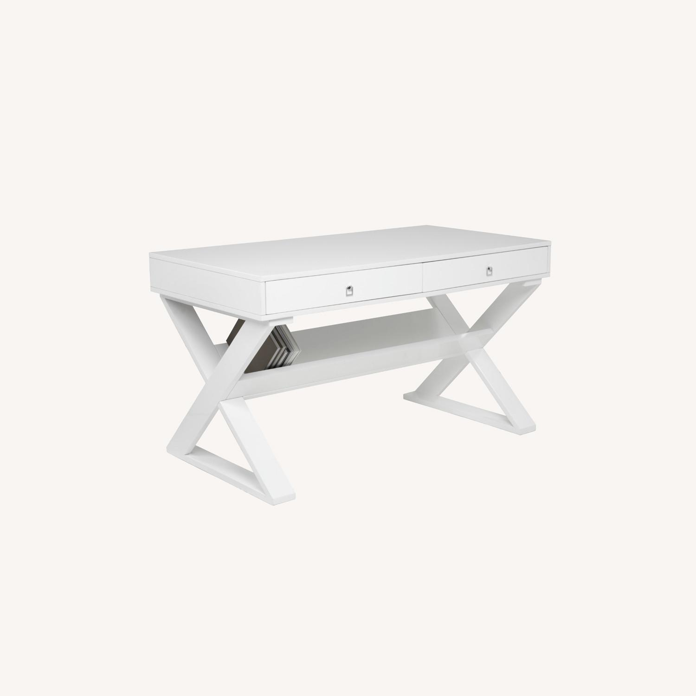 Z Gallerie White Lacquered Desk - image-0