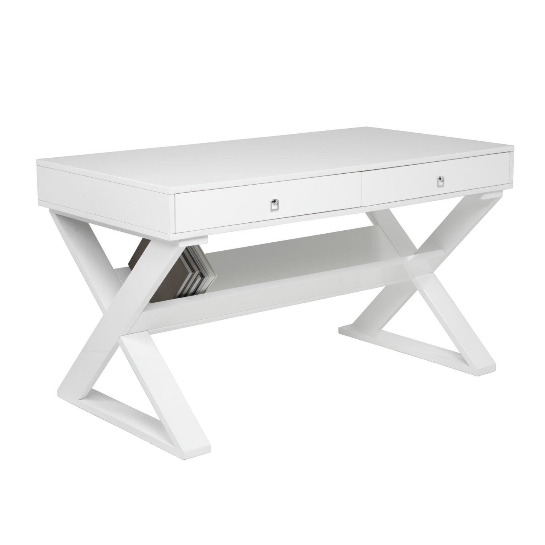 Z Gallerie White Lacquered Desk - image-1