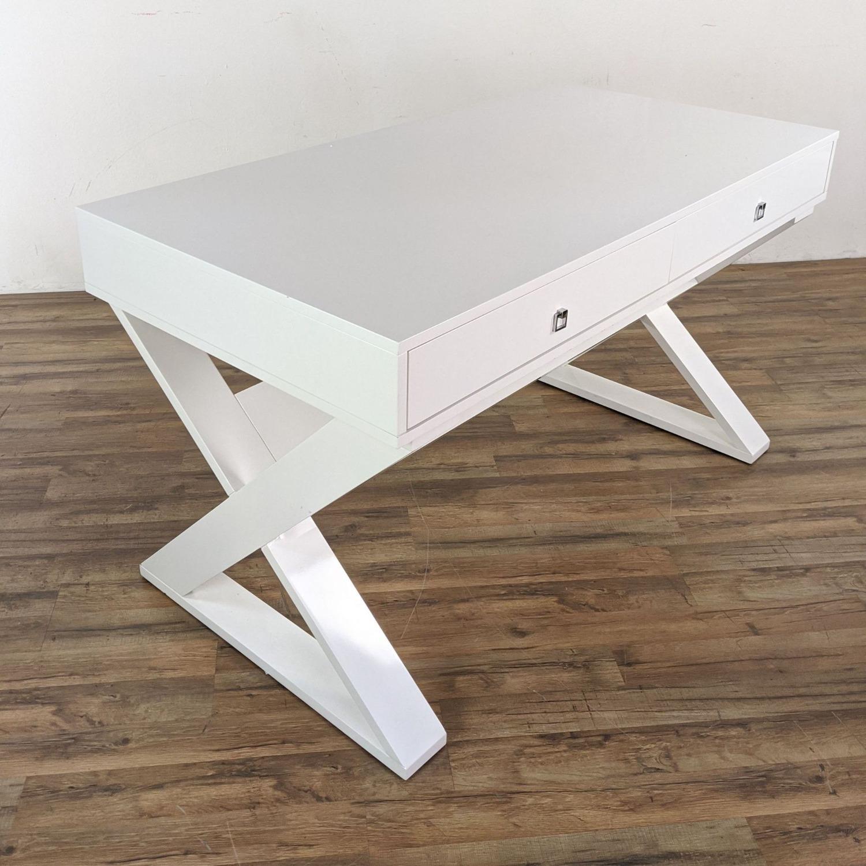 Z Gallerie White Lacquered Desk - image-5