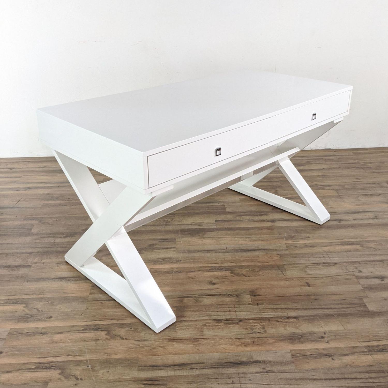 Z Gallerie White Lacquered Desk - image-2