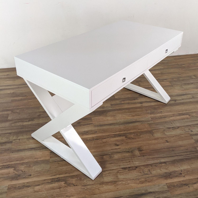 Z Gallerie White Lacquered Desk - image-4