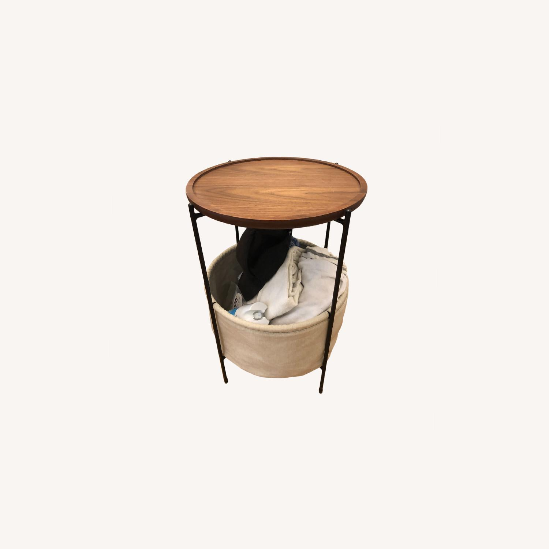Rivet Meeks Round Side Table with Basket - image-0