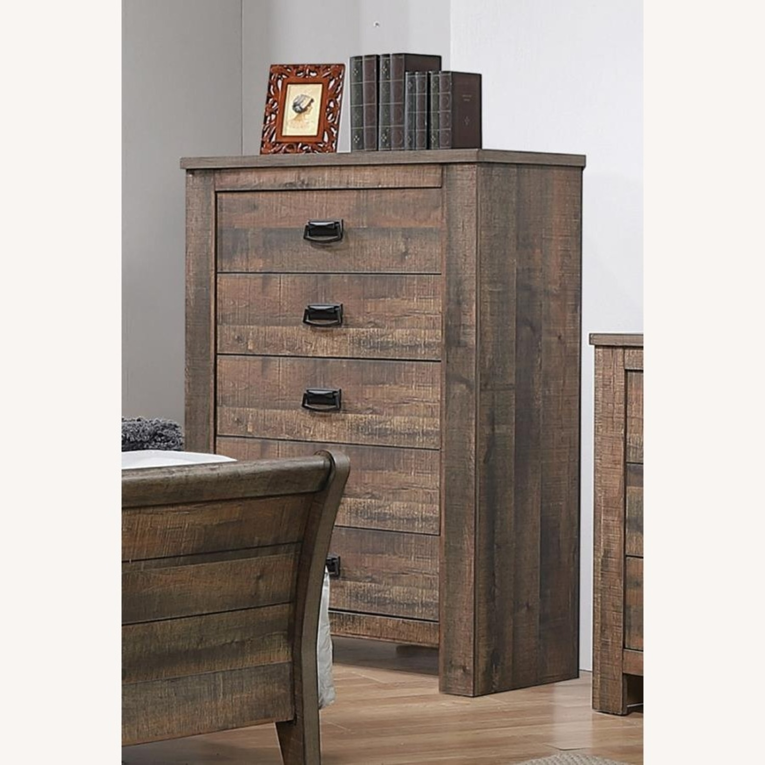 Chest In Weathered Oak Finish W/ Bail Handle - image-1
