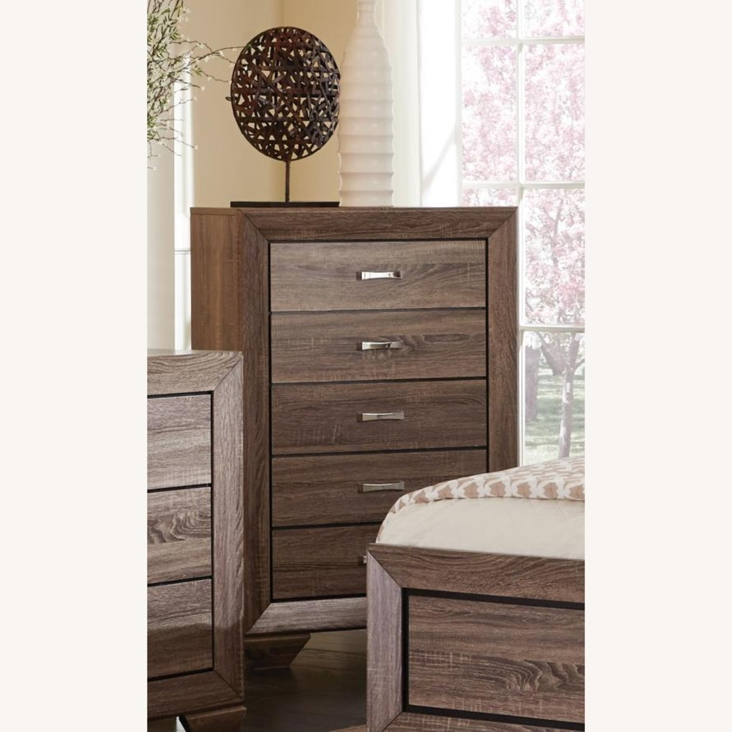 Chest In Washed Taupe Finish W/ Chrome Handles - image-5