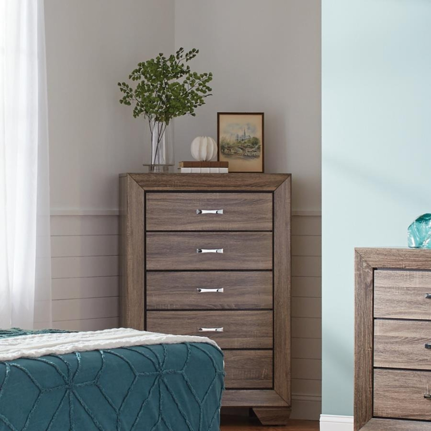 Chest In Washed Taupe Finish W/ Chrome Handles - image-6