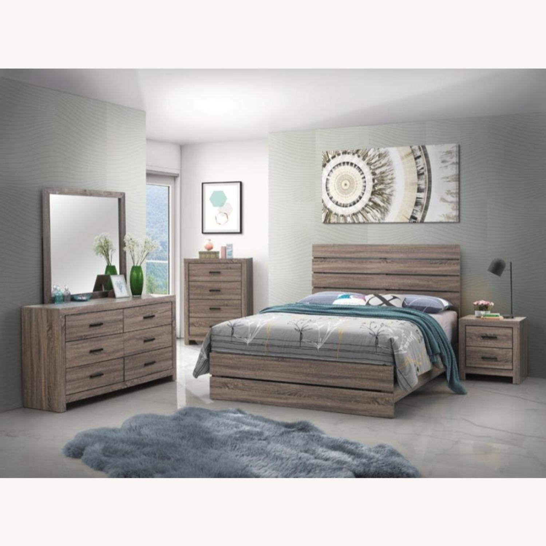 Queen Bed In Barrel Oak W/ 3D Paper Laminate - image-1