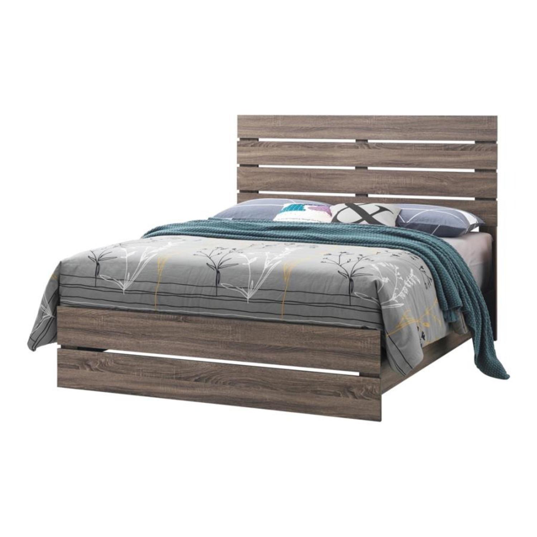 Queen Bed In Barrel Oak W/ 3D Paper Laminate - image-0