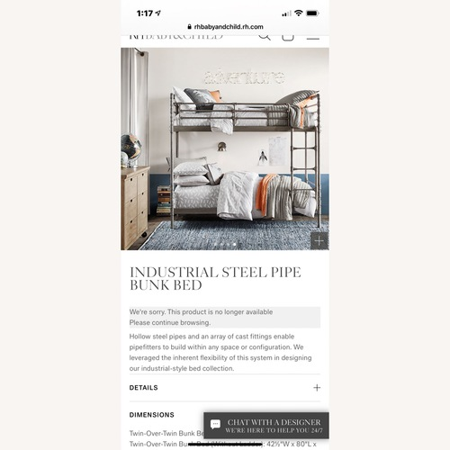 Used Restoration Hardware Industrial Steel Pipe Bunk Bed for sale on AptDeco