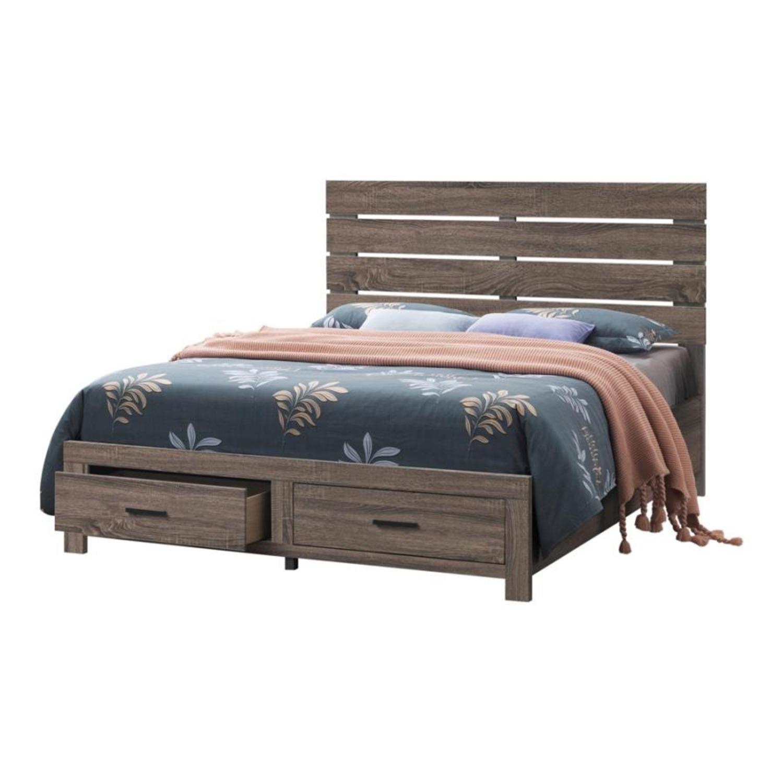 King Bed In Barrel Oak Finish W/ Storage Drawers - image-0
