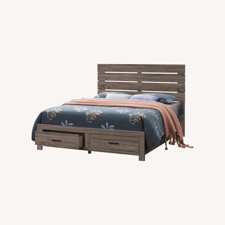 King Bed In Barrel Oak Finish W/ Storage Drawers - image-3