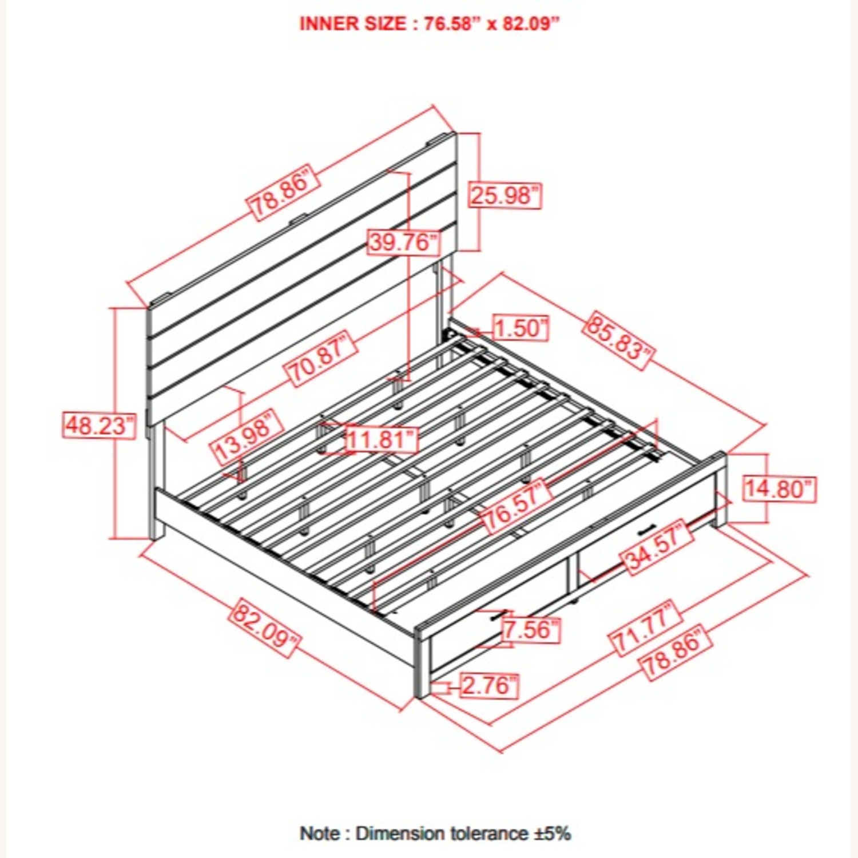 King Bed In Barrel Oak Finish W/ Storage Drawers - image-2